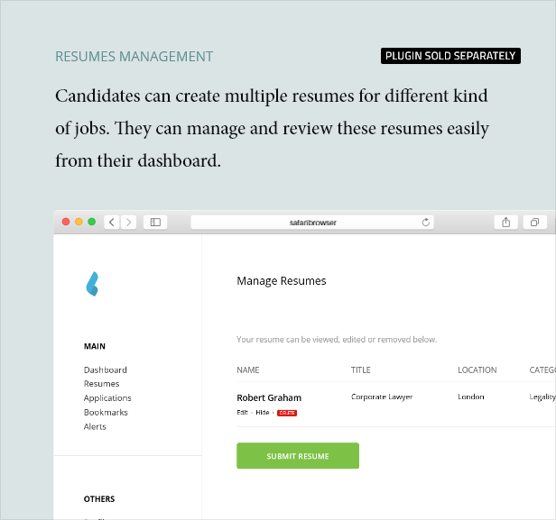 Resume Management - Dashboard