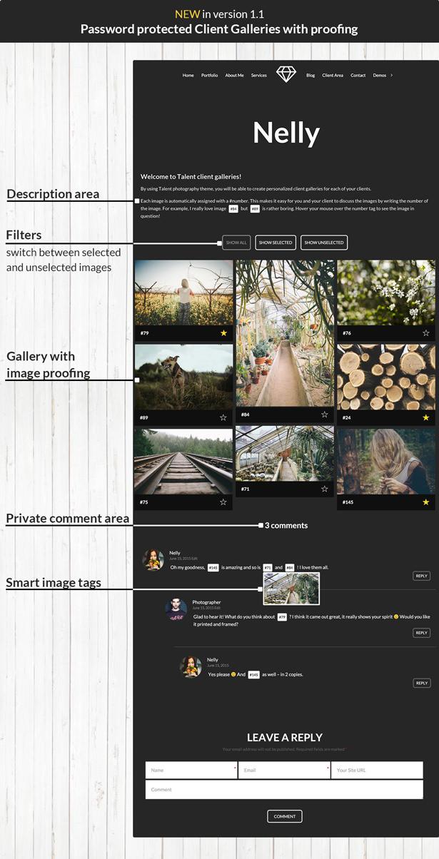 Talent - Horizontales Fotografie-WordPress-Template