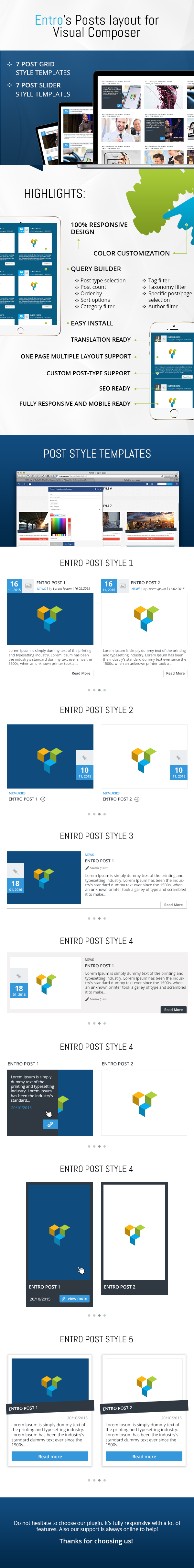 Entro's Posts Layout für Visual Composer