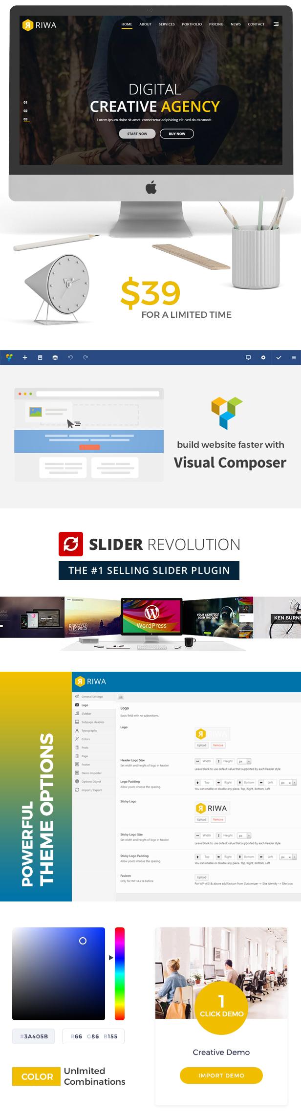 Riwa - Eine Seite WordPress Template