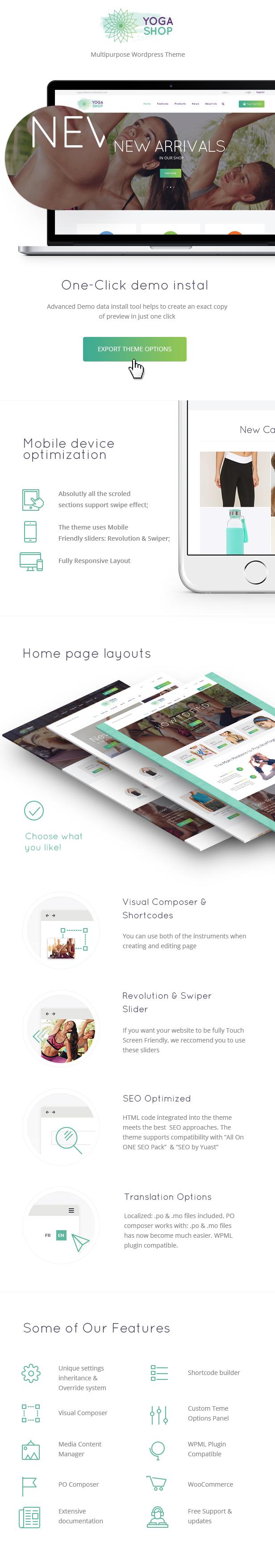 Yoga Shop - Ein moderner Sportbekleidung- und Ausrüstungsshop WordPress Template
