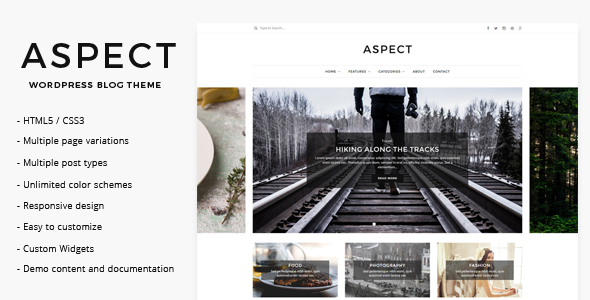 Wordpress Blog Template Aspect - WordPress Blog Theme