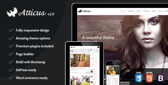Wordpress Kreativ Template Atticus - Clean Responsive Multi-Purpose Theme