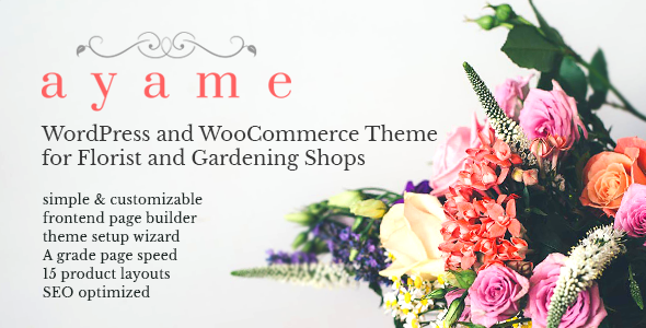 Wordpress Shop Template Ayame - WordPress and WooCommerce Theme for Florist and Gardening Shops