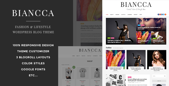 Wordpress Blog Template Biancca - Fashion & Lifestyle WordPress Blog Theme