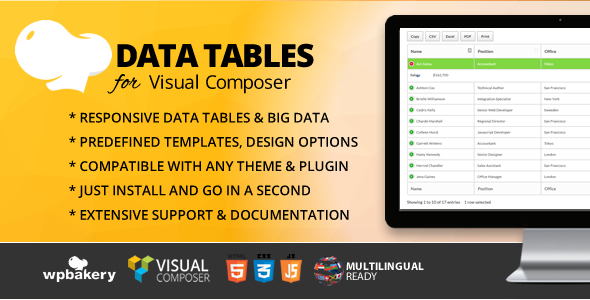 Wordpress Add-On Plugin Data Tables Addon for WPBakery Page Builder (formerly Visual Composer)