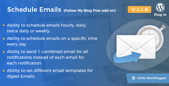 Wordpress Add-On Plugin Schedule Emails - Follow My Blog Post add-on