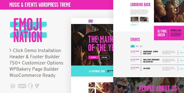 Wordpress Entertainment Template EmojiNation | Night Club & Concert WordPress Theme