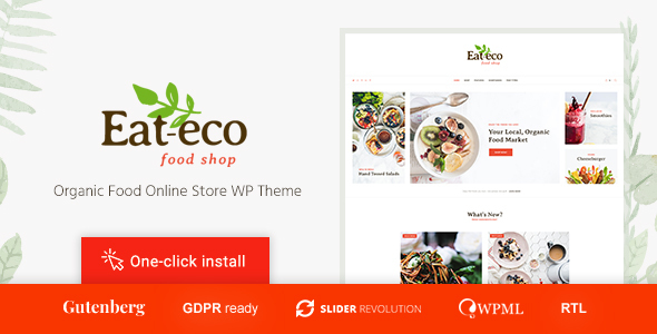 Wordpress Shop Template Eat Eco - Healthy & Organic Food Shop WooCommerce Theme