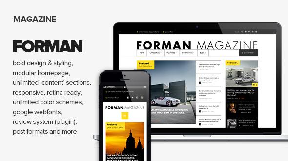 Wordpress Blog Template Forman - Responsive News, Magazine and Blog Theme