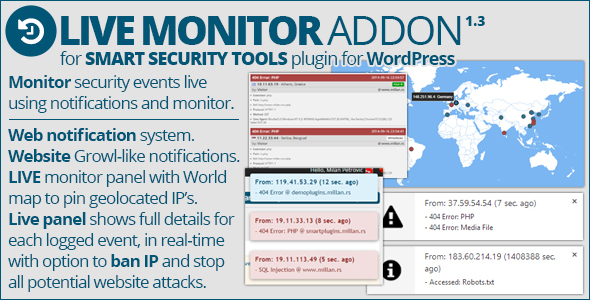 Wordpress Add-On Plugin Smart Security Tools: Live Monitor Addon