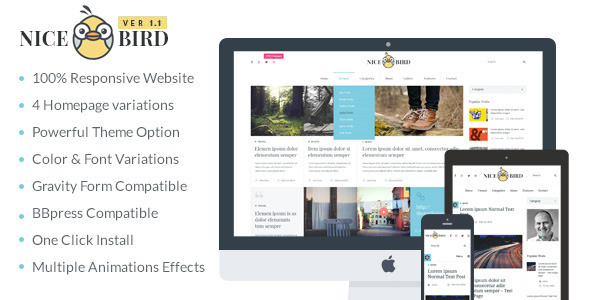 Wordpress Blog Template Magazine / Newspaper / News / Blog WordPress Theme - NiceBird