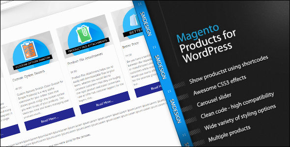 Wordpress E-Commerce Plugin Magento Products for WordPress