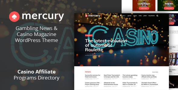 Wordpress Blog Template Mercury - Gambling News & Casino Affiliate WordPress Theme