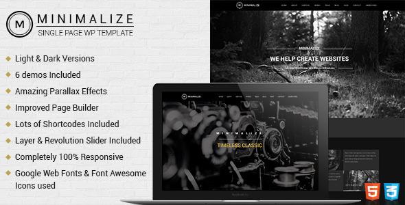 Wordpress Kreativ Template Minimalize | Single Page Theme