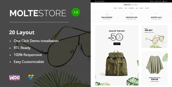 Wordpress Shop Template Molte - Store Fashion and Food WooCommerce Theme