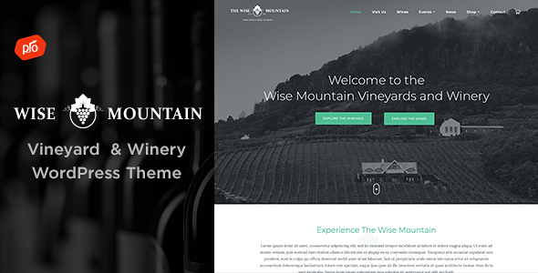 Wordpress Entertainment Template Wise Mountain - Vineyard and Winery Theme