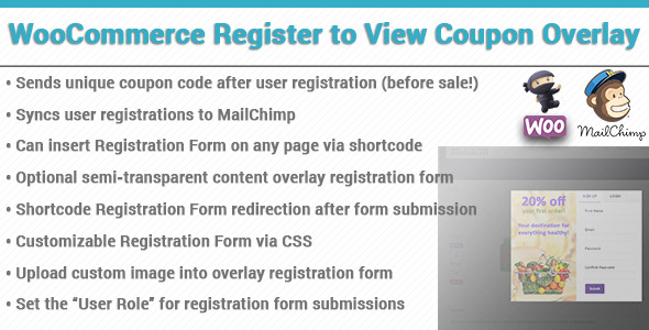 Wordpress E-Commerce Plugin WooCommerce Coupon Registration Overlay