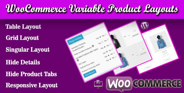 Wordpress E-Commerce Plugin WooCommerce Variable Product Layouts
