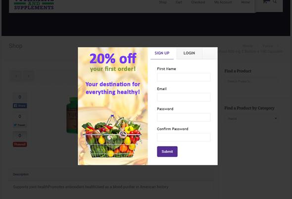 WooCommerce Coupon-Registrierungsüberlagerung - 1