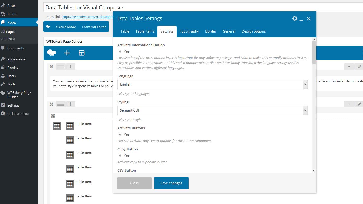 Datentabellen-Addon für WPBakery Page Builder (früher Visual Composer)