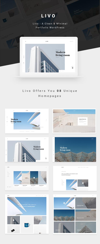 Livo - Ein sauberes und minimales Portfolio WordPress-Vorlage - 1