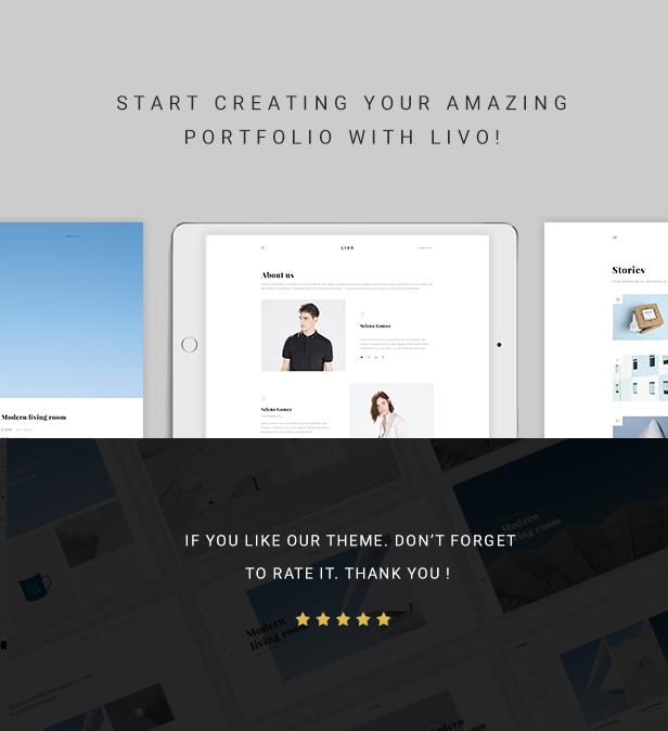 Livo - Ein sauberes und minimales Portfolio WordPress-Vorlage - 7