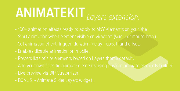 Wordpress Add-On Plugin AnimateKit - Animation Tools for Layers