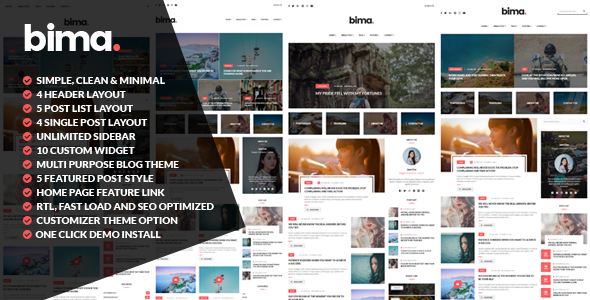 Wordpress Blog Template Bima - Modern & Clean WordPress Blog Theme