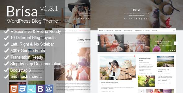 Wordpress Blog Template Brisa - Responsive WordPress Blog Theme