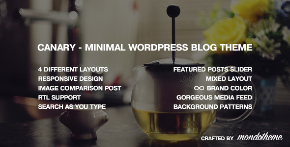 Wordpress Blog Template Canary - Minimal WordPress Blog Theme