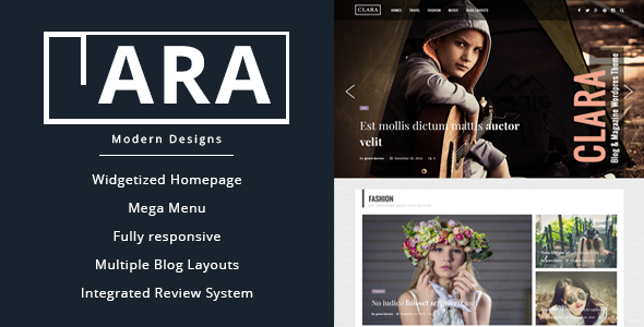 Wordpress Blog Template Clara - WordPress Magazine and Blog Theme