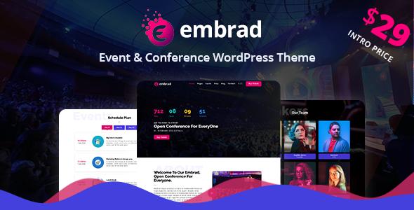 Wordpress Entertainment Template Embrad - Event & Conference WordPress Theme