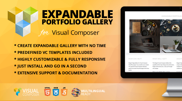 Wordpress Add-On Plugin Expandable Portfolio Gallery Addon for WPBakery Page Builder (formerly Visual Composer)