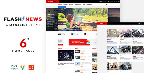 Wordpress Blog Template Flash News - Responsive News Theme