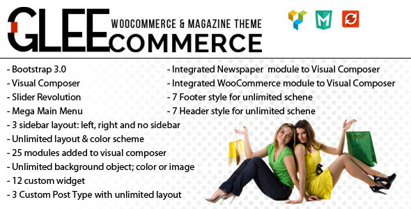 Wordpress Shop Template GleeCommerce - Multiconcept Woo and Magazine Theme