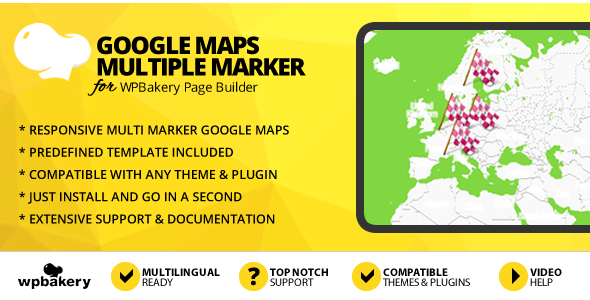 Wordpress Add-On Plugin Google Maps With Multiple Markers Addon for WPBakery Page Builder (formerly Visual Composer)