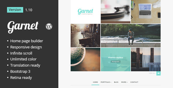 Wordpress Kreativ Template Garnet Creative Portfolio WordPress Theme