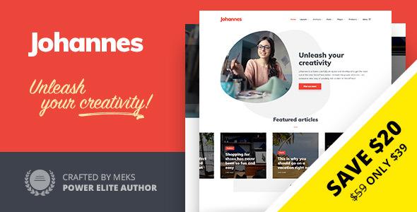 Wordpress Blog Template Johannes - Multi-concept Personal Blog & Magazine WordPress theme
