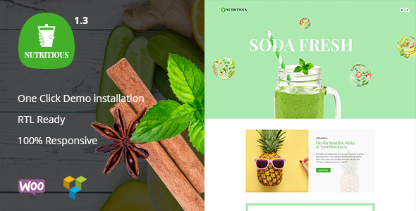 Wordpress Shop Template Nutritious - Organic food Drink WooCommerce Theme