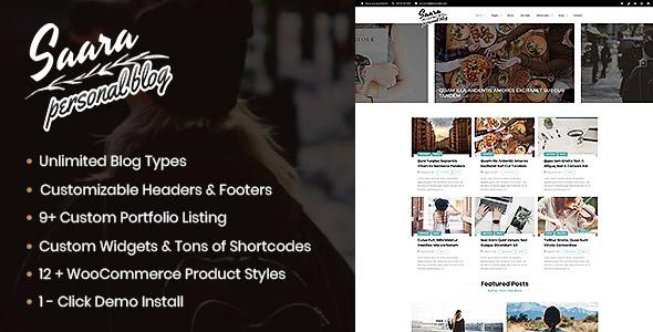 Wordpress Blog Template Saara Blog - WordPress Blog, Personal Blog