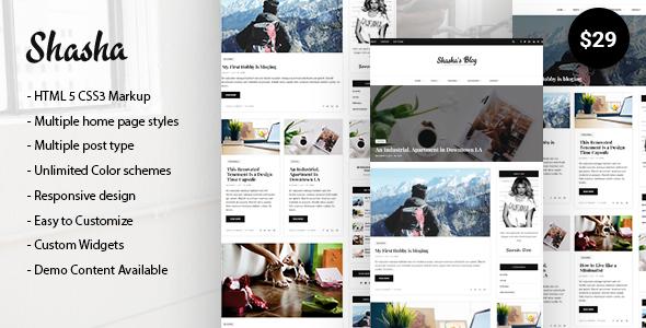 Wordpress Blog Template Shasha WordPress Blog Theme