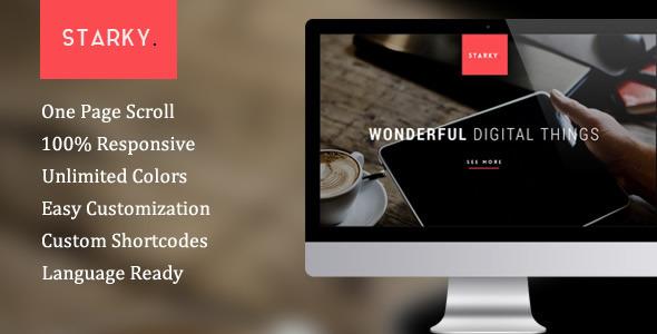 Wordpress Kreativ Template Starky - Responsive One Page Parallax Theme