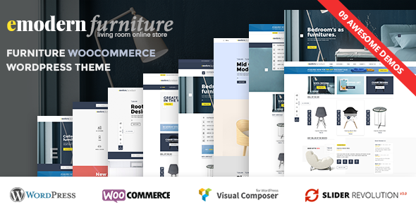 Wordpress Shop Template VG Emodern - Furniture Theme with 9 HomePages