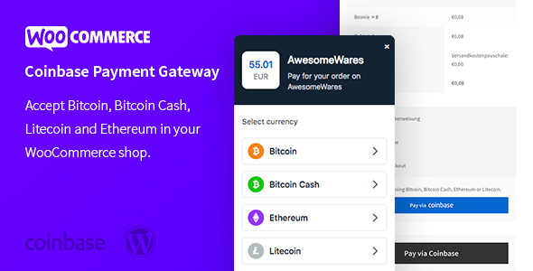 Wordpress E-Commerce Plugin WooCommerce Coinbase Cryptocurrency Payment Gateway – Accept Cryptocurrencies in WooCommerce