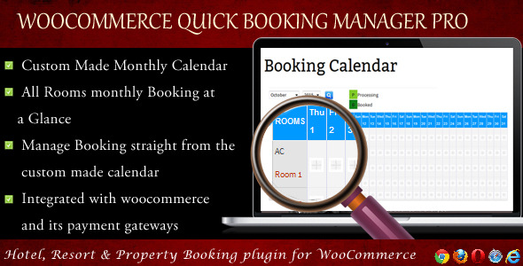 Wordpress E-Commerce Plugin WooCommerce Quick Resort & Hotel Booking Calendar
