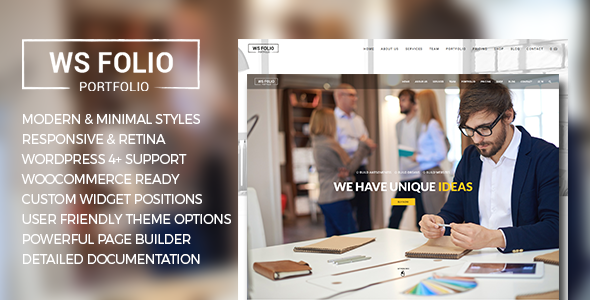 Wordpress Kreativ Template WS Folio - Responsive Portfolio WordPress Theme