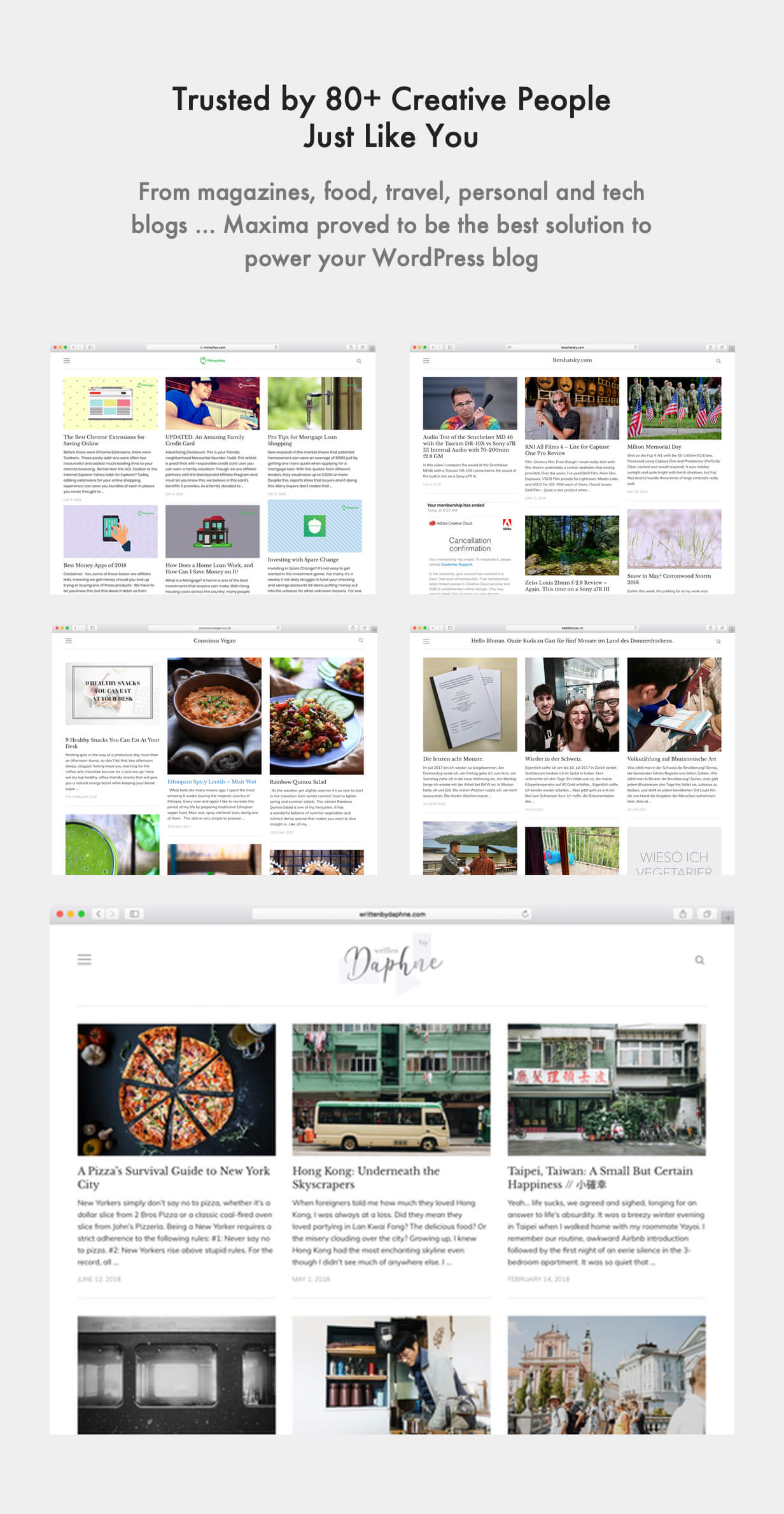 Maxima WordPress Template Showcase