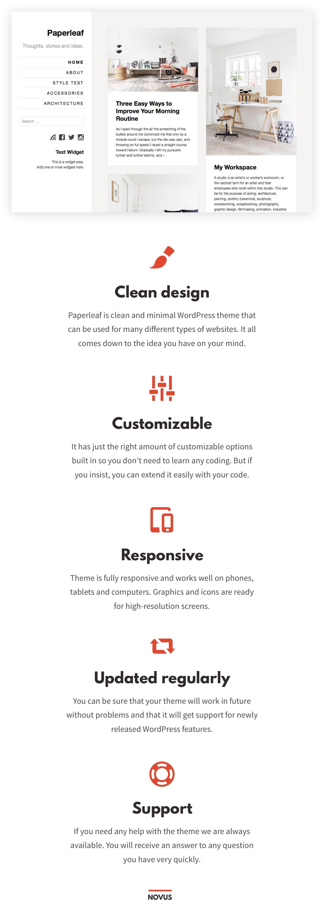 Minimalistisches WordPress-Template mit Paperleaf
