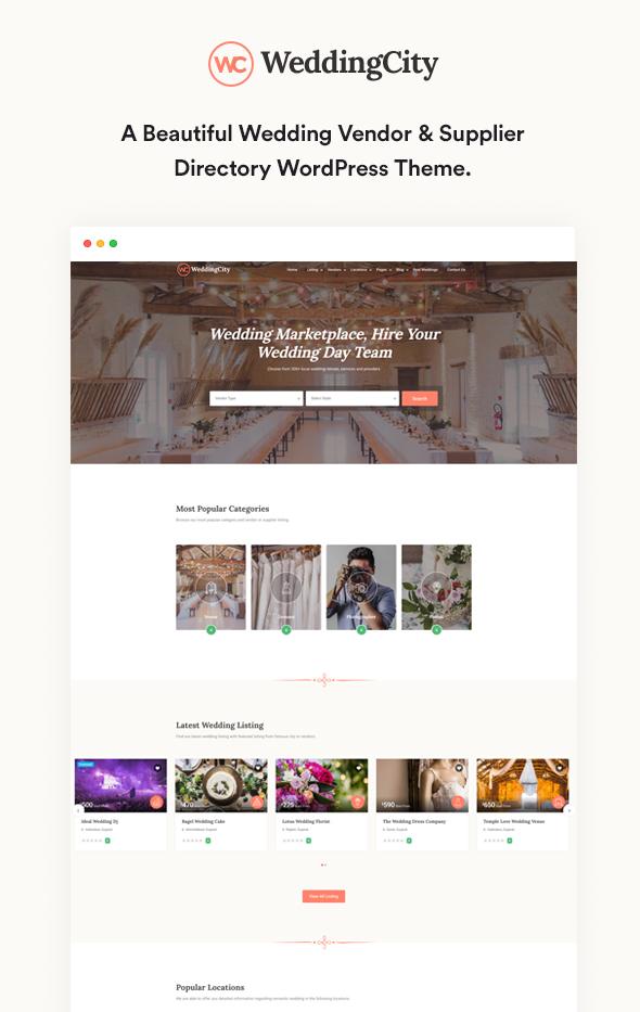 Hochzeitsanbieter - Verzeichnis & Listing WordPress Vorlage